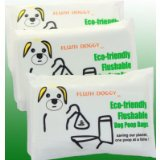 Flushable Dog Poop Bags / Dog Waste Bags (3-pack travel packs ~ 60 Flush Doggy Bags)