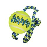 KONG Squeakair Tennis Ball with Rope Dog Toy, Medium, Yellow