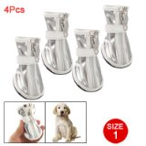 4 Pcs Doggy Nonslip Sole Silver Tone White Faux Leather Boots Size 1