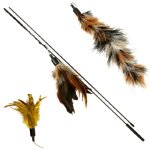 "32"" Interactive Feather Wand Cat Toy Plus 2 Spare Luxury Feather Refills - Drives Cats Wild!"