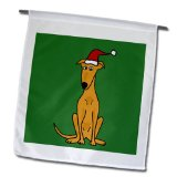 All Smiles Art Christmas - Funny Greyhound Puppy Dog in Santa Hat Christmas Art - Flags - 12 x 18 inch Garden Flag (fl_200596_1)