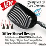 """Sifter with Deep Shovel - Designed by Cat Owners - Teflon Coated and Solid Aluminum. """"Perfect Scooper"""" with Free Holder. Solid Core Handle. iPrimio Patent Pending. BLACK"""